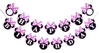 CHuangQi Happy Birthday Banner, Mouse Ears or Minnie Bow Style Party Decorations, Happy Birthday Party Supplies, Minnie Themed Party (Pink for Girl)