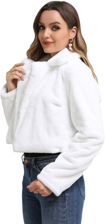 Women's Warm Winter Faux Fur Cropped Jacket Coat Notch Lapel Faux Fur Fluffy Coat Outwear