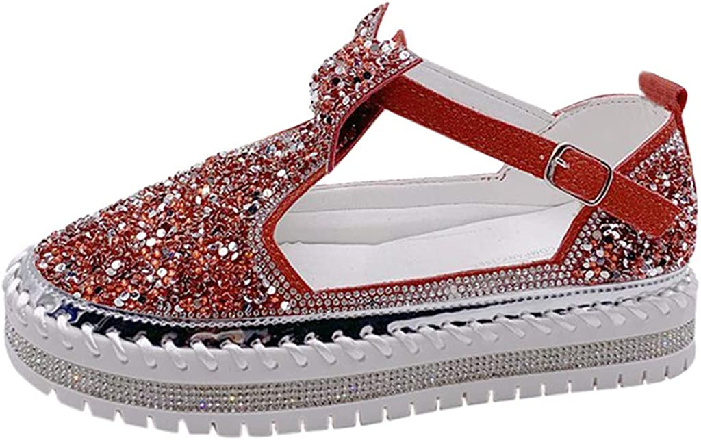 2020 Womwns Sandals Sequined Hollow Sl Bowknot New color Flats Thick-Soled Max 89% OFF