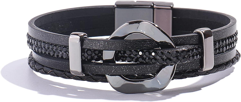 Outlet ☆ Free Shipping FANCY SHINY New popularity Leather Cuff Bracelet Circle Rhinestone Bracele Wrap