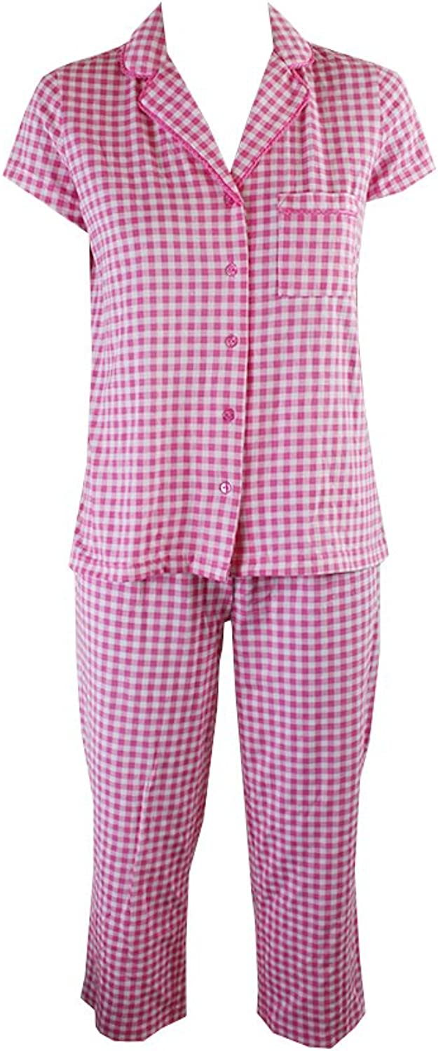 Charter Club 3Piece Checkered Pajama Set with Slippers Black