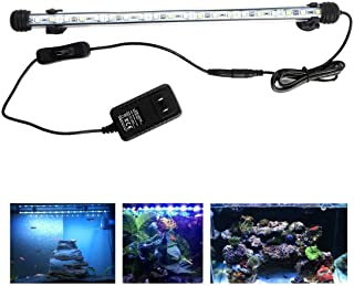 LED Aquarium Light, 15inch Fish Tank Light White Color Underwater Light Submersible Crystal Glass Lights