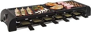 Gran mesa de raclette parrilla parrilla eléctrica para 12personas 2placas de barbacoa (12Sartenes, 1800W, antiadherente, parrilla de fiesta)