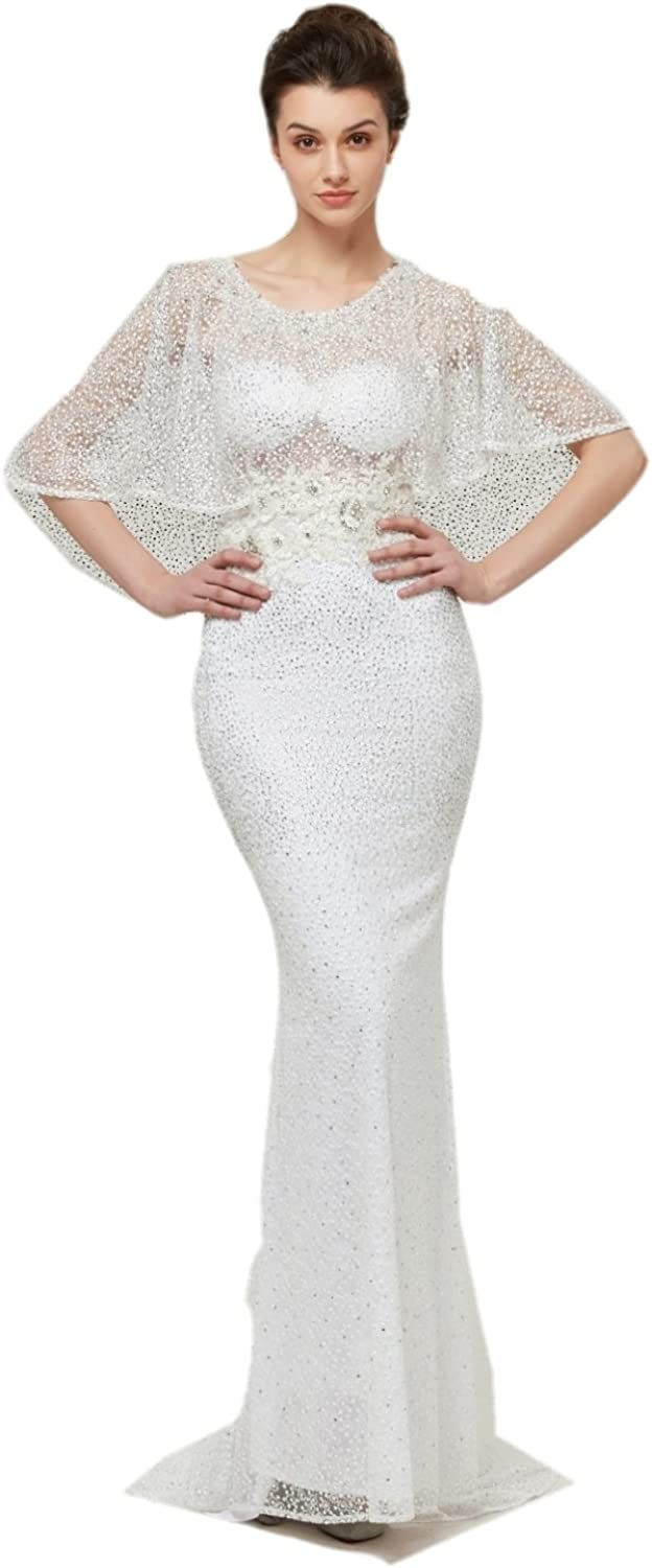 Darcy74Dulles Women's Elegant Evening Dress Long White Sequins Mermaid Beaded Prom Dresses Wedding Gown with Shawl Sexy