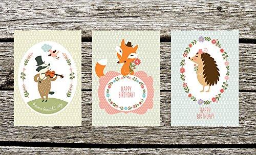 Postkarten 3er Set, Gebutstagskarten 3er Set, Geburtstagskarte