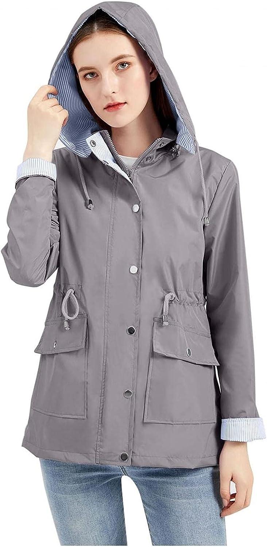 Auwer Women's Lightweight Waterproof Jacket Solid Long Sleeve Zip up Windbreaker Sweatshirt with Pocket