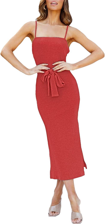 Meenew Women's Spaghetti Strap Summer Dress High Slit Bodycon Midi Party Dress
