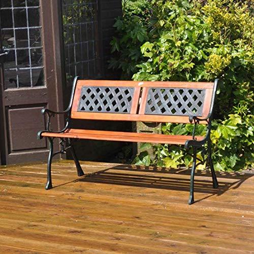Garden Mile 2-Sitzer, Holz und Gusseisen, Gartenbank, Terrassensitzmöbel, Stuhl für den Außenbereich, einfache Montage, wetterfest