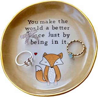 Gift for Mom, Fox Ring Dish Holder ,You make the world a better place just being in it , Mother's Day Gift , Mom Gifts for...