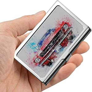 Car Old Car Mustang Art Abstract Watercolor Business Card Holder for Women Thin Business Card Holder Professional Metal 3.81x 2.7 X 0.29 Inches Business Card Case for Women