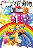 Chicbanners PERSONALISED WINNIE THE POOH V2 BIRTHDAY BANNER POSTER Custom Design Large A0 Size 1189mm x 841mm (47 inches x 33 inches / 118.9cm x 84.1cm) ANY AGE PLUS TEXT CAN BE ADDED