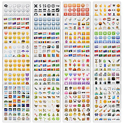 Newest Emoji Stickers from iOS 9.1 Include The Most Popular Emoji Faces- 28 Sheets/Pack- 48pcs/Sheet - More Than 1300+ Stickers
