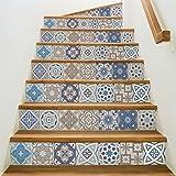 Ambiance-Live col-stairs-ROS-A920_15x105cm_6bandes Stickers Adhesivos Escalera carrelages, Vinilo, Multicolor, 6 bandes de 15x105 cm, 6 Unidades