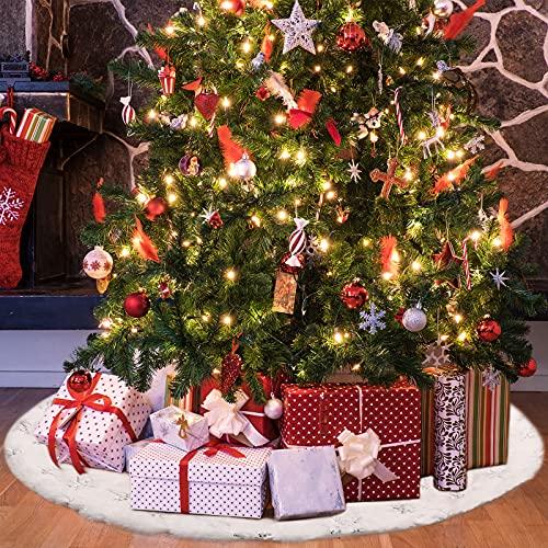 Couvre-Pied de Sapin Noël, Jupe Arbres à Paillettes Jupe Arbre de Flocons Neige Jupe Arbre Noël Douce Couvre-Pied d'Arbre Ronde pour Arbre Noël Décoration Fête Vacances Noël (19,7 Pouces)