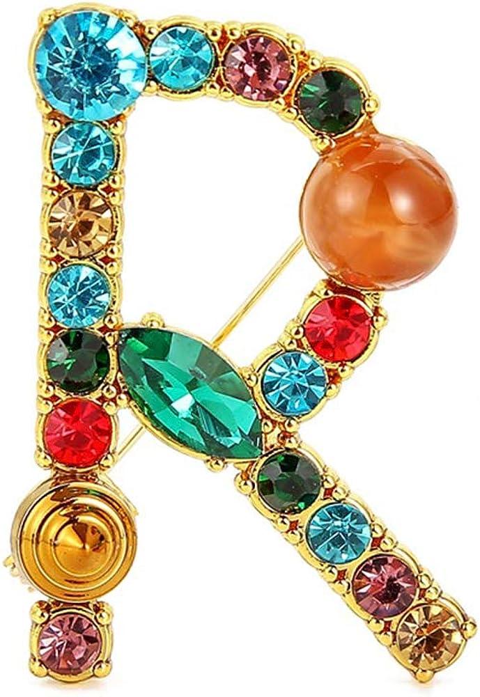JENPECH Brooch Pin for Women,Multicolor Rhinestone Letter Brooch Pin Corsage Cardigan Jewelry Accessory - Golden R