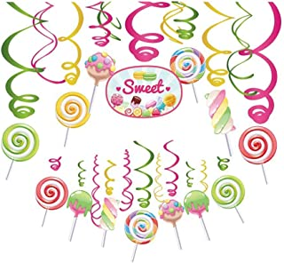 Cieovo 30Ct Candy Land Hanging Swirl Decorations, Candyland Party Supplies, Lollipop Birthday Theme, Candy Shop Kids Paper Decor for Baby Shower Boy Girl Birthday Sweet Shop Party Favors