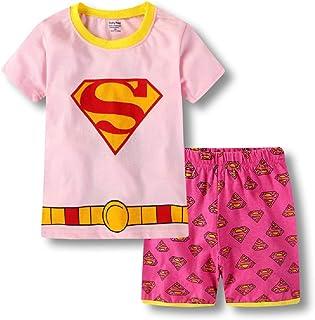 Girls' Cute Supergirl Pajama Set Short Sleeves Cotton