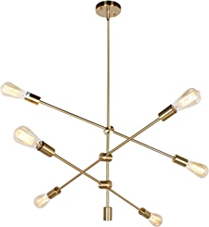 PUZHI HOME Sputnik Chandelier 6-Light Chandelier Contemporary Ceiling Light Fixture Industrial Vintage Pendant Lighting for Livingroom Dining Kitchen Island Bedroom Lighting-Gold