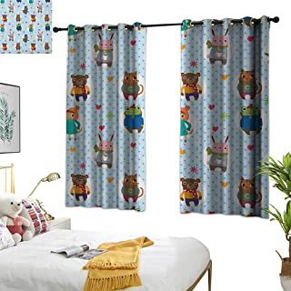 Warm Family Curtain Set Nursery,Collection of Animals with Winter Clothing Hats Hot Coffee on a Dotted Background, Multicolor 72