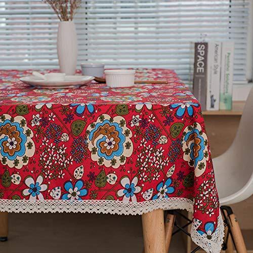 S&shan Manteles, Große Tischdecke aus Baumwolle und Leinen mit Blumenmuster, große rote Blume und Spitze, 30 x 45er Matte