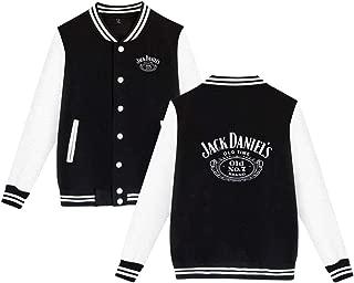 Xuanuan Jack Daniels Logo Unisex Plus Velvet Fashion Casual Slim Fit Baseball Coat Jacket Warm Comfortable Black