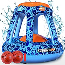 iBaseToy Pool Basketball Hoop, Inflatable Basketball Hoop with 2 Balls & Pump, Floating Swimming Pool Basketball Hoop Set, Water Basketball Game Pool Toys for Kids Teens Adults Family