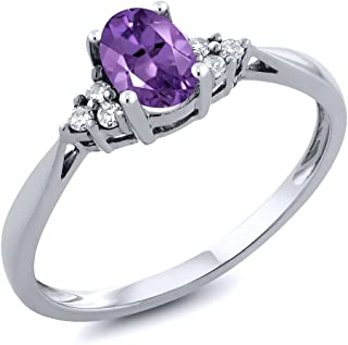 14K White Gold Purple Amethyst and Diamond Women's Ring 0.41 cttw (Available 5,6,7,8,9)