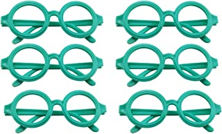 FENICAL 12 Pcs Colorful Round Glasses Frame Boys Toys Glasses(Green)