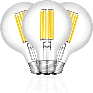 CRLight 8W Edison LED Globe Bulb 4000K Daylight White, 80W Equivalent 800 Lumens, E26 Base Vintage G25 / G80 Clear Glass Globular Dimmable LED Filament Bulbs, Bathroom Vanity Mirror Light, Pack of 3