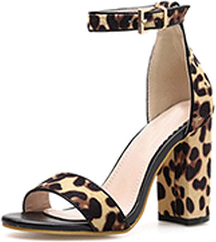 HuangKang Leopard Grain Women Sandals Buckle Strap Square Heel Rome Ladies Thin Heel Peep Toe Party shoes
