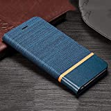 Trounce™ Denim Cloth + Leather Flip Wallet Case Stand Cover with Card Holder (Blue) for Samsung...