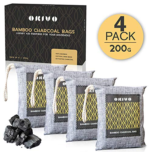 Okivo Bamboo Charcoal Bags - Long-Lasting Activated Charcoal Odor Eliminator in Washable Cotton Packs - Large Odor Absorber & Purifier for Room - Natural Home, Office & Car Air Freshener - 4 Pack, 200g