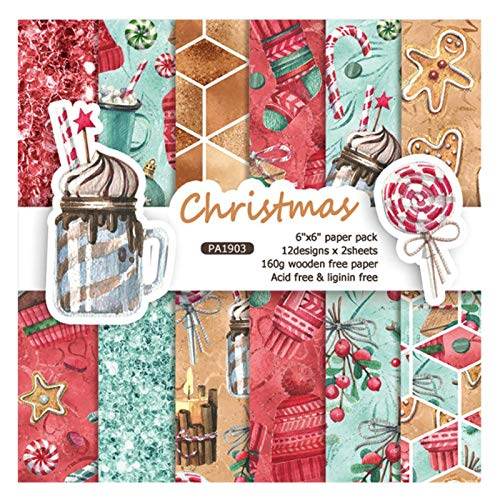 ZIIVARD Christmas Scrapbook Paper Pack 24 Sheets Scrapbooking Kit Pad Paper for Photo Album DIY Origami Art Background Decoration,6 X 6 Inches