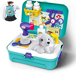 Gizmovine Gifts for 2 3 4 5 Year Old Girls, Toys for Kids Dog Grooming Doctor Kit, Pet Care Play Set Pretend Puppy Dog Carrier, Pet Grooming Toy with Case Toys for 2 3 4 5 year old Girls Boys Toddlers