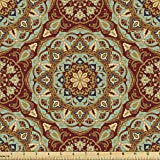 Ambesonne Mandala Fabric by The Yard, Abstract Flora Pattern Medieval Mosaic Tile Design, Decorative Fabric for Upholstery and Home Accents, 2 Yards, Coffee Blue