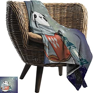 Nap Blanket Kids Panda Bear with a Scarf Outside in The Starry Winter Night Grunge Looking Artwork Portable Car Travel Cover Blanket 60