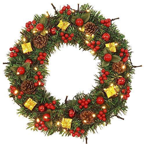 Sayla Navidad Decoración Corona de Navidad para Puerta Corona decoración navideña piñas Guirnalda Manual de Navidad Guirnalda Festiva Adorno Artificial Ceremonia de Boda