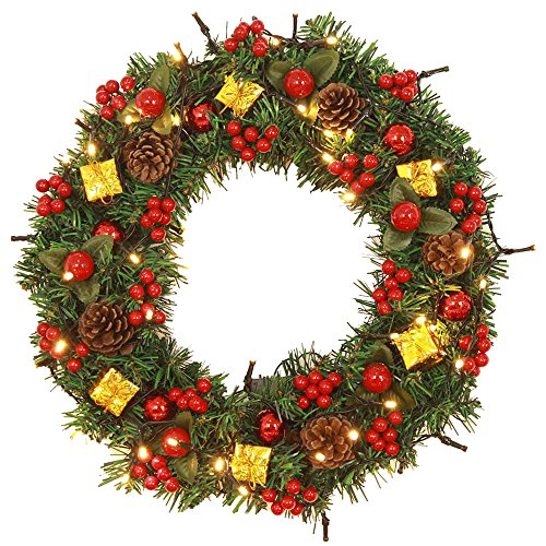 AliKEEY kerstdecoratie buiten kerstslinger rood 40 cm kerstbal slinger deco muur garland deco cool Xmas luxe slinger Merry Christmas Party Poinsettia grenen grote Holly Xmas slinger deur decoratie wanddecoratie