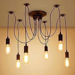 6 luces 1.8M araña industrial Luz de loft Araña cableada Rústica Vintage Loft Lámpara de techo de araña industrial