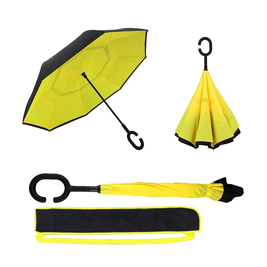 PumaEye Double Layer Inverted Umbrella, Cars Reverse Folding Umbrella, 100% Anti-UV Lightweight 8 Ribs Windproof Travel Umbrellas for Kids Men and Women with C Shape Handle and Carrying Bag