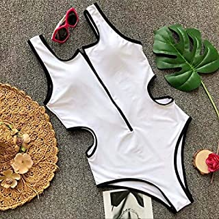 BEESCLOVER Yellow Swimsuit Swimwear Women One Piece Swimming Wear Summer Patchwork Zipper Hollow out Bandage Women's Swimsuits White S