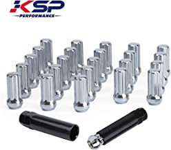 KSP M14x1.5 Tuner Wheel Lug Nuts, 24x M14-1.5 Wheel Lug Nuts,Chrome Acorn/Conical M14X1.5 Closed Bulge Cone Seat 2'' Tall with 2 Socket Keys Fits 6 Lug Aftermarket Wheels, 1 Year Warranty
