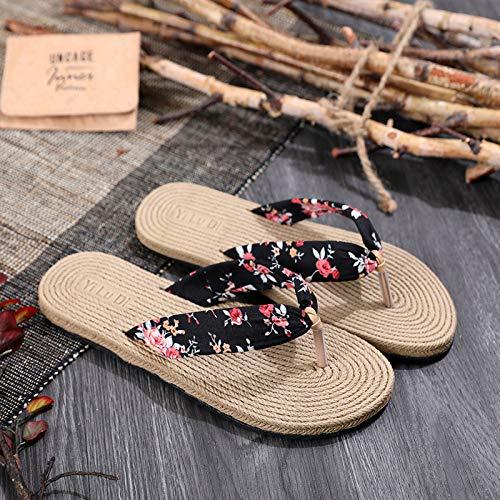 CZDXM Zapatos De Mujer Verano Boho Floral Sandalias De Playa Plataforma De Tacón De Cuña Zapatillas De Tanga para Zapatillas De Plataforma De Mujer