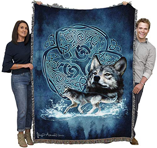 Celtic Wolves - Brigid Ashwood - Cotton Woven Blanket Throw - Made in The USA (72x54)