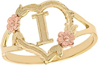 CaliRoseJewelry 10k Gold Initial Alphabet Personalized Heart Ring - Letter I