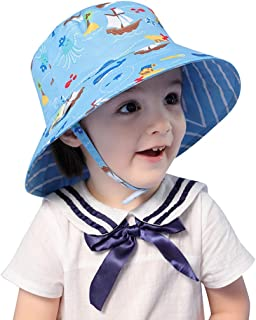 LLmoway Kids UPF50+ Bucket Sun Hat Baby Toddler Wide Brim UV Protection Play Hat