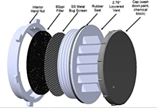 """The Display Shield Louvered Vent, Bug Screen, 60ppi Filter, Seal and Cap, 2.5"""", Black"""