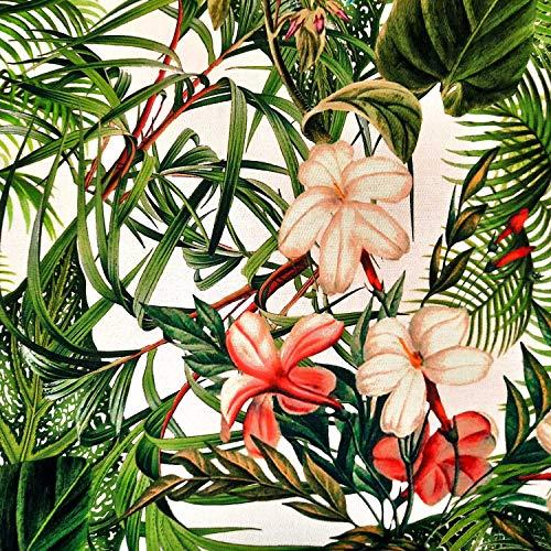 Werthers Stoffe Stoff Meterware Baumwolle Guinea Blätter Blüten Urwald Dschungel Satin Dekostoff für Kissen Tischdecke