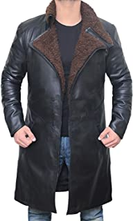 Black Shearling Leather Trench Coat Mens Jacket | [1600337] Blade PU, XXXL