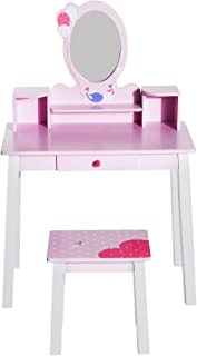 HOMCOM Coiffeuse Enfant - Tabouret Inclus - Table de Maquillage dim. 60L x 34l x 93H cm - tiroir, étagères, Miroir - Bois ...